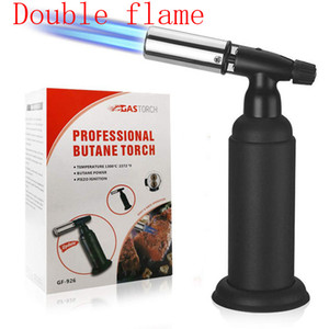 Super strong dual 1300C Metal Butane gas Torch Windproof Jet Flames heavy Giant Butane Torch Lighter Professional Kitchen Torch BBQ tool