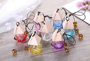 Glass Car Perfume Bottle with Wood Beautiful Cap Empty Refillable Bottle Hanging Cute Air Freshener Carrier Home car decorate LXL743Y