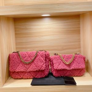 Kadınlar Zincir Çanta Çanta Lady Omuz Çanta Flap Cüzdan Klasik Crossbody Çanta Tweed Kadife CC ile