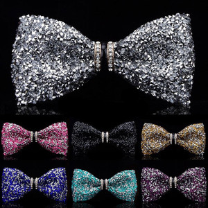 New fashion tuxedo bow tie men red and black Crystal glass groom marry wedding party colorful striped butterfly cravats mens