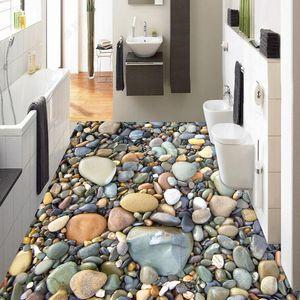 Stereo 3D de pedra Pebble Piso Wallpaper Banho Sala PVC auto-adesivo impermeável Mural 3D azulejos Sticker Home Decor 201009