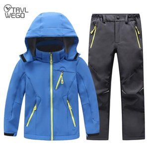 TRVLWEGO Winter Waterproof Outdoor Suit Camping Windproof Skiing Hiking Pant Soft Shell Jackets Kids Fleece Sport Keep Warm