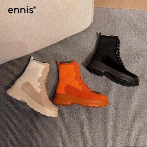 Ennis кожаные кожаные замшевые сапоги женщины ретро сапоги платформа шнурки лодыжки холст оранжевые туфли осенью зима новая a0137