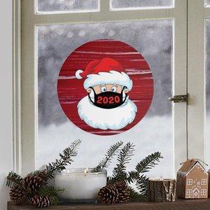 21 * 21cm Güzel Noel Sticker Yaratıcı Karikatür Yuvarlak göster Pencere Camı Çıkartma Noel Noel Baba Atmosfer Çıkartma DWF2735
