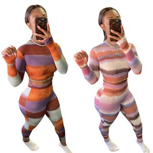 Sexy Lady Stripes Skinny Nightclub Two-piece Sets 2021 INS New Long Sleeves O Neck T Shirt + Tight Pants Fitness Outfits High Quality
