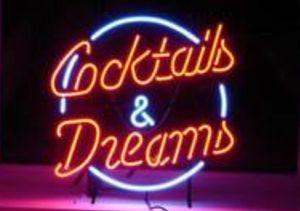 Cocktails rêves Néon personnalisés main magasin Boutique Bar Disco KTV Publicité Affichage Décoration réel verre Tube néon signes 17 X14