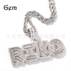 Hip Hop New Style Cool Custom Rock Sugar Letter Digital Stitching Combination Pendant Necklace Micro Inlaid Zircon Mens and Womens Necklaces