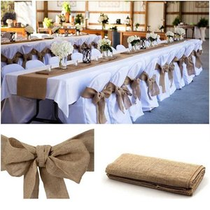 Vintage arpillera hessian cinta faja silla de boda nudo para boda artesanía fiesta decoración banquete sillas de evento arco qylkrv