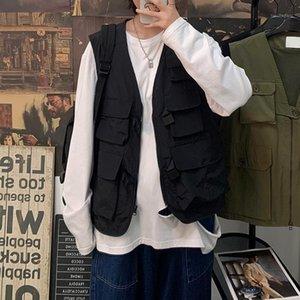 Mens Fashion Tooling Vest Men Streetwear Cargo Vest Hip Hop Sleeveless Jacket Gilet Multi-Pocket Outdoors Tactical Coat1
