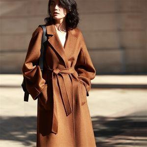 Aigyptos Classic Double Fooled Woolen Wavy Cashmere Coat Winter Women LJ201021