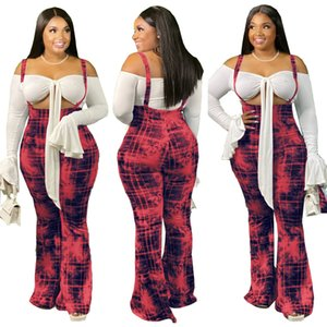 Plaid Sling Mulher designer Calças Primavera Outono cintura alta Magro Além disso Mulheres Calças Hot Sell Alargamento