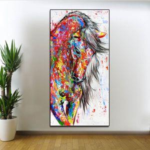 Résumé Wall Art Courir Peinture à l'huile de cheval sur l'affiche de toile coloré animal personnalisé Affiches mur moderne Photos de Living Room Decor