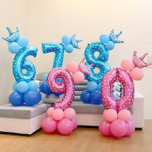 32 Inch Number Set Foil Balloons Kids Birthday Party Indicator Balloon Column Stand Wedding Decoration Baby Shower Accessories
