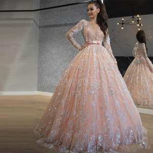 2021 Baby Pink Quinceanera Dresses Sequin Lace Ball Gown Prom Dresses Jewel Neck Long Sleeve Sweet 16 Dress Long Formal Evening Wear
