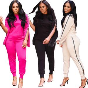 2 шт Sexy Мода шею молния Два Piece Set 2020 Fall Casual Wear свободных женщин перевозкы груза