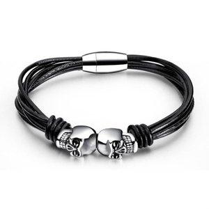 Mens Titanium Steel Skull Bracelet Simple Multilayer Leather Woven Bracelet Sports Casual Mens Gift