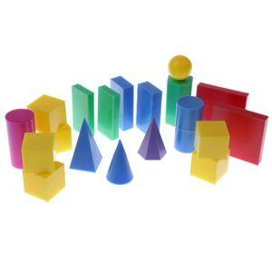 Пластиковые геометрических тел 3D геометрии блоков манипулятивы Математика Математические игрушки 20pcs