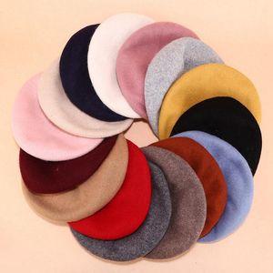 WZCX Solid Color Autumn Winter Beret Vintage 2020 New Painter Casual Simple Outdoor Red Felt Hat Women'S Hat