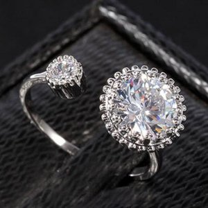 Wedding Engagement Rings for White Gold Plated Cubic Zirconia Rings Austrian Crystal Gemstone Rings