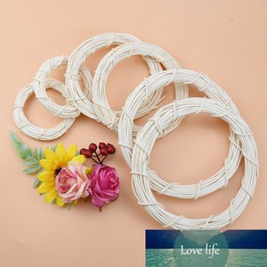 10 15 20cm White Rattan Ring Artificial flowers Garland Dried flower frame For Christmas Home Decor DIY floral wedding Wreaths