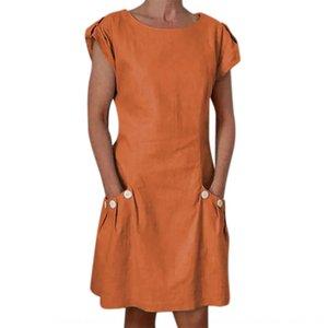 Sommer-neues Kleid Normallack lose Hülse kurze beiläufige Baumwolle Hanf Rock Mian ma qun Baumwolle Leinen Mian ma qun nPmpp