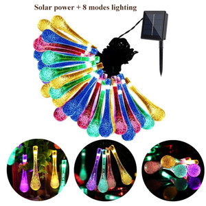 Solar Powered LED Lights 30 Bulbs Waterproof Water Drop Christmas String Camping Outdoor Lighting Garden Holiday Party 8 Modes 6.5m