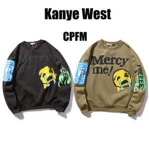 Novo Outono e Inverno Kanye Cartas Chorando Face Sorrindo Face Espuma Impressão Redonda Pescoço Sweater Plus Veludo Solto Sleeves Longos