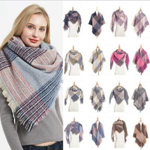 Unisex Tassel Plaid Scarves Fashion Large Size Scarf Winter Warm Thickened Neckerchief Lattice Blanket Scarf WY380w