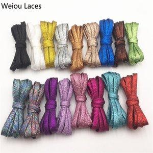 Weiou Cool Pearlized Glitter Шулы Блестящие блестящие плоские шнурки для обуви Рождественские цвета Chic Shiming Bootlaces 120см