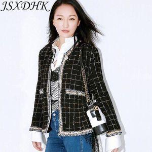 JSXDHK Runway Damen Tweedjacke Herbst Winter Plaid Black Quaste Webart Mantel Vintage Einreiher Oberbekleidung S-3XL1