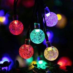 Crystal Ball Water Drop Solar Powered Globe Fairy Lights 8 Working Effect for Outdoor Garden Christmas Decoration Holiday Lights OWB2388