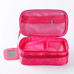 Caixas de armazenamento de maquiagem impermeável de duas plataforma Diamante Lattice Organizador portátil Nylon Zipper Cosmetic Saco Novo chega quente vendendo 15QE J1