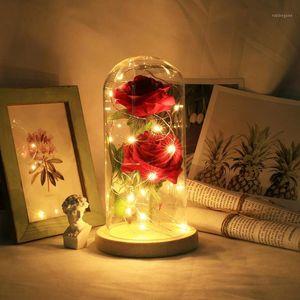 Dekorative Blumen Kränze Rote Rose in Flasche Ein Glas Kuppel auf Holzbasis Für Valentinstag Geschenk LED Lampen Hochzeit Geburtstag Weihnachten Deco