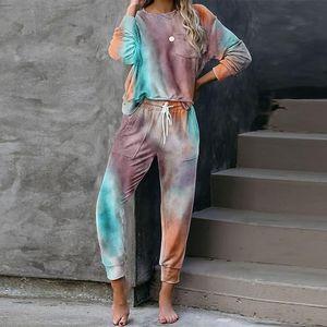 Pijama Wear Salão de 2020 Autumn Tie Dye Wear conjunto de pijama mulheres sono Pijamas Set Mulheres Dormir Mulheres Roupa de Noite
