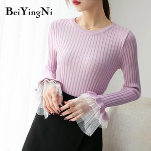Beiyingni Autumn Winter Women Sweater O-neck Flare Sleeve Lace Patchwork Slim Tops Knitted Kawaii Winter Pullovers Lady Clothes