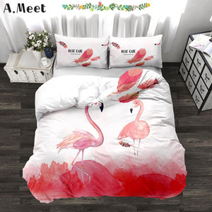 3d Flamingo Super King Size Ropa de cama Juego de cama de lujo de lino rosa Conjunto Beding Hoja de impresión Inicio Roupa De Cama Nevresim Takimlari