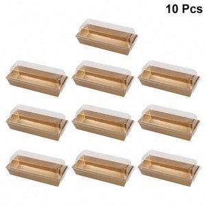 플라스틱 투명 뚜껑 YTQX 번호와 함께 상자를 포장 10PCS 직사각형 크래프트 종이 샌드위치 포장 상자 케이크 빵 간식 베이커리