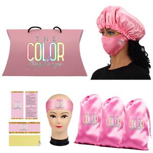 Packaging Set satin mask Satin Bags  Hang Custom Tag   Sticker Hair Bundle Wraps Bonnets Headband