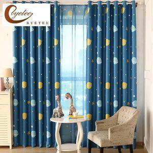 [byetee] Modern Cartoon Blue Planet Curtain Livingroom Curtain Bedroom Children Cortina Cortinas Baby Room Curtains1