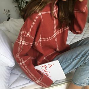Autumn Winter Plaid Women Sweater Half-turtleneck Warm Minimalist Knitting Pullovers Female Elegant Ladies Knitted Tops Jumpers