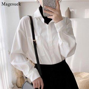 Женские блузки рубашки осень хлопок белая блузка женщины 2021 корейский офис с длинным рукавом плюс размер свободных вершин для моды blusas 11881