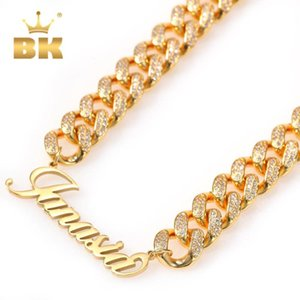 The Bling King Gold 12mm Copper Chain Stainless Steel Art Font Plated Luxury Cuban Chain Necklace With Zirconia Stones