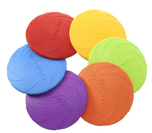 Dog Flying Discs Soft Rubber Indestructible Trainers Pet Toy Dog Flying Saucer Bright Color for Dogs to See Large 7.1in