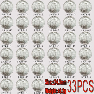 33PCS USA Coins Standing Liberty Quarter Coin 1917-1930 P-D-S Copy 24mm Bright Coins