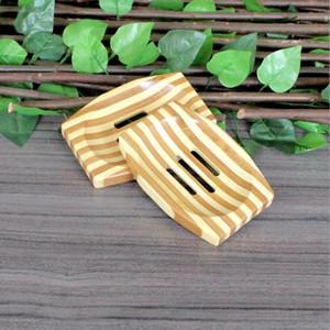 Caixa de armazenamento woodem Saboneteira Soap Bamboo Natural Pratos Bandeja Banho Soap rack de armazenamento Placa portátil Sabões Container Banho OWE2041