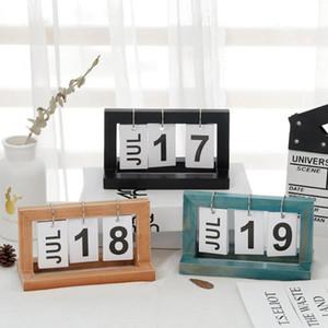 Tabla de madera del calendario de escritorio del bloque de madera cepilladora Permanente de escritorio Agenda Calendario perpetuo Decoración