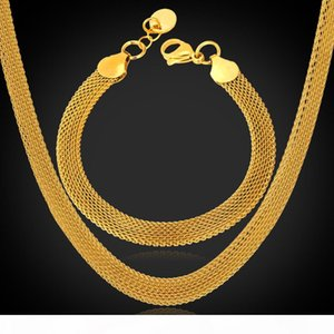 18K' Stamp Women's High Quality Gold Filled Chunky Necklaces Chains 18K Real Gold Plated Figaro Necklace 5MM 50CM