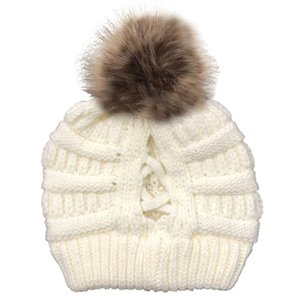 20Women Winter Chunky Knit Beanie Hat with Removable Pom Pom Hollow Criss Cross Messy Bun High Stretch Skull Cap
