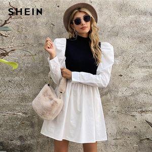 Shein preto e branco zombeta de pescoço manga sopra colorblock vestido mulheres outono alta cintura flared hem uma linha elegante vestidos curtos