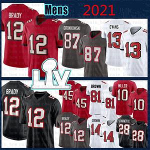 Mens 2021 Nova Jersey Football 12 Tom Brady 87 Rob Gronkowski 14 Chris Godwin 45 Devin Branco 13 Mike Evans Costurado